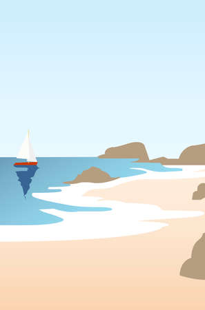 Creative concept vector illustration sailing boat yacht at the sea with mountains and sky on background. Çizim