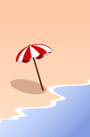 Creative concept vector travel illustration seaside beach landscape with umbrella in the sunlight.