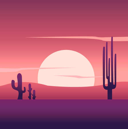 Creative concept vector illustration desert dune sand hill landscape in thenight time  background.