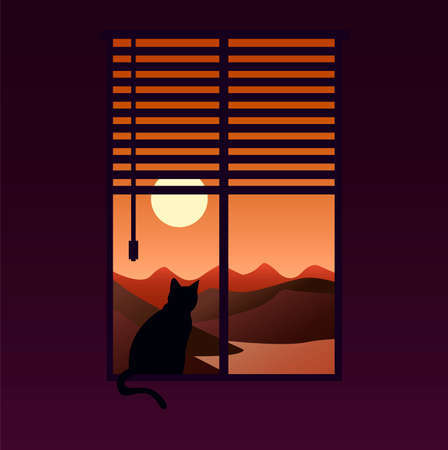 Creative concept vector illustration cat sitting on the floor near the window watching the sunlight sunshine.