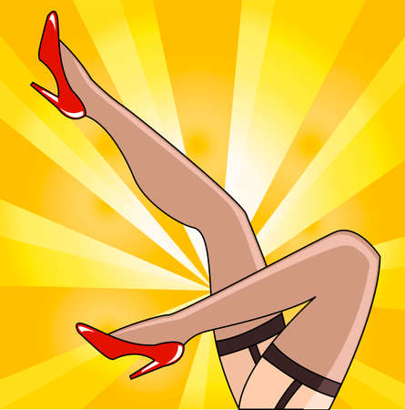 Creative retro vintage fashion conceptual vector illustration. Pin up woman legs hips wearing stockings and high heels.