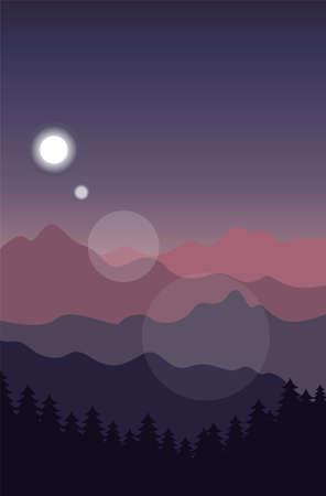Creative concept vector illustration night time sky on european mountain background. Ilustração