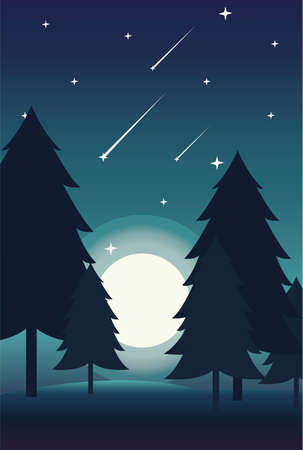 Creative concept vector illustration night time sky with falling stars on european mountain forest background.