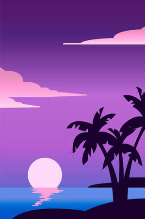 Creative concept vector travel illustration florida palms seaside beach landscape in the dusk sundown.