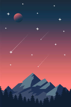 Creative concept vector illustration night time sky with falling stars on european mountain background.
