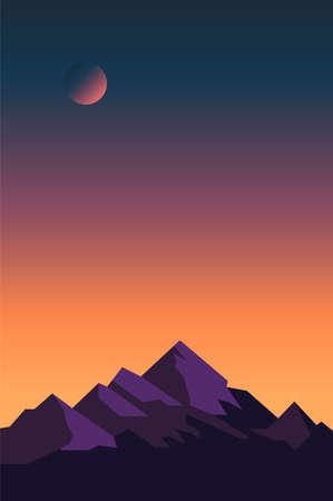 Creative concept vector illustration night time sky on european mountain background. Иллюстрация