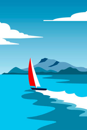 Creative concept vector illustration sailing boat yacht at the sea with mountains and sky in the nighttime.