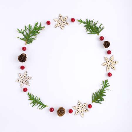 Creative concept holiday celebration photo of christmas tree toys balls decoration on white background.