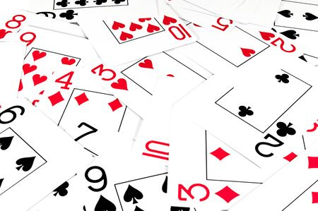 Isolated playing cards on white background. Red and black cards