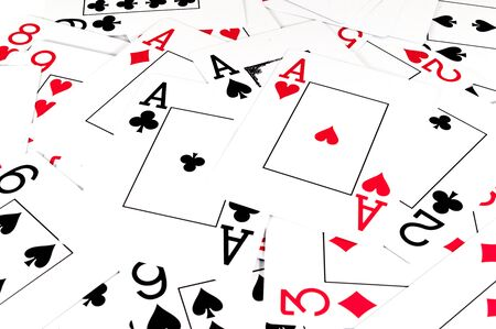 Isolated playing cards on white background. Four ace.