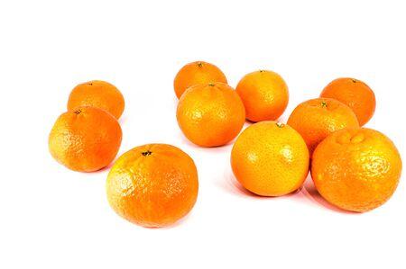 Orange mandarins or tangerines isolated on white background. Closeup photos of fresh citrus fruit. Stock Photo