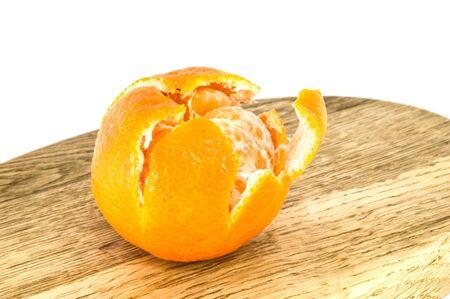 Orange mandarins,  tangerine peel or mandarin slice isolated on white background. Closeup photos of fresh citrus fruit.