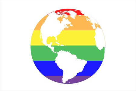 Vector illusrtation of planet Earth with LGBT colors. Earth in six rainbow colors. Can be used like logo, postcard or wallpaper for LGBT community. Flag of freedom Ilustração