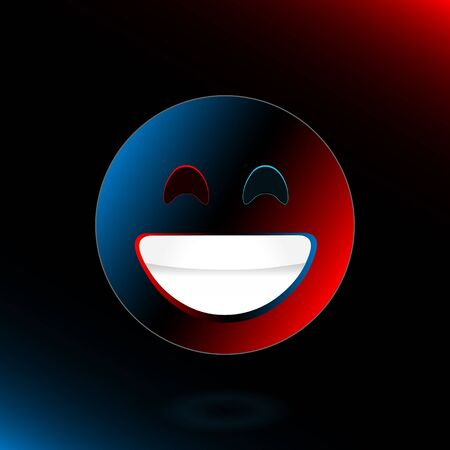 Beaming face emoji with smiling eyes and a broad, open smile with a full-toothed grin as if saying Cheese! for the camera. Smile in blue black and red colors