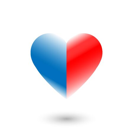 Like social network icon in heart shape on white. Heart in blue and red colors.