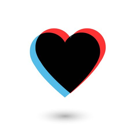 Like social network icon in heart shape on white. Heart in blue black and red colors.  イラスト・ベクター素材
