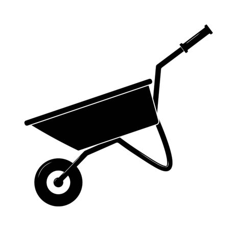 Wheelbarrow cart icon flat. Black pictogram on white background.