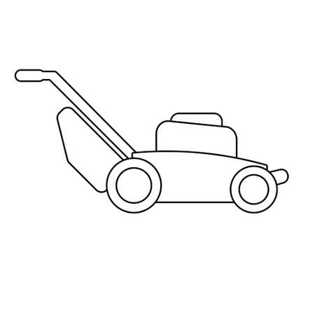 Lawn mower machine icon technology equipment tool, gardening grass cutter.