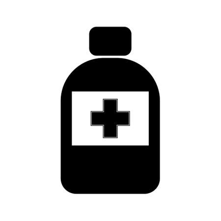 Medical tablets, pills bottle, simple flat illustration. Medical tool
