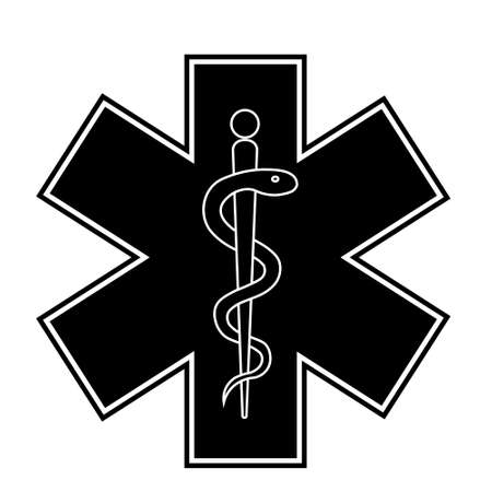 Medical sign star of life icon. Hospital ambulance star glyph style pictogram. Medicine logo