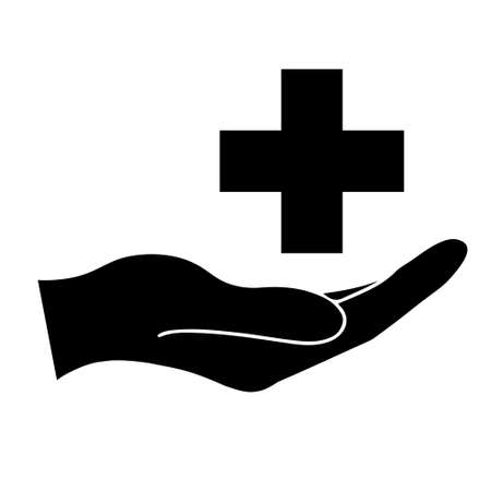Cross health care symbol simple icon. Illustration of hand. Medical icon