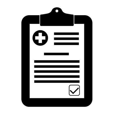 Medical form, medical report. Characters. Clipboard with a cross. Medical tool Ilustração