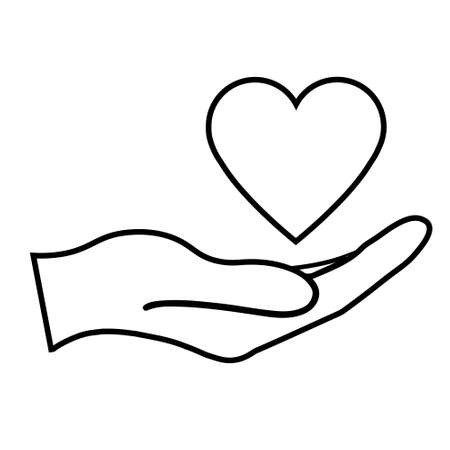 Heart health care symbol simple icon. Illustration of hand. Medical icon
