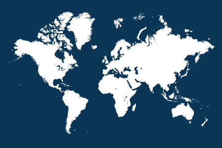 Global map of the world. Highly detailed map with borders, countries. Each country is on a separate layer and is editable.