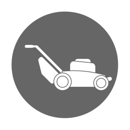Illustration of lawn mower machine technology equipment tool, gardening grass cutter. Flat style