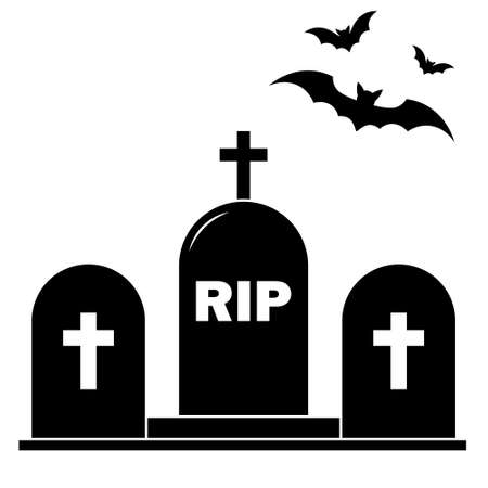 Simple illustration of grave icon Concept for Halloween day. Flat style