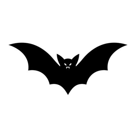 Simple illustration of bat silhouette for halloween day greeting cards. Flat style