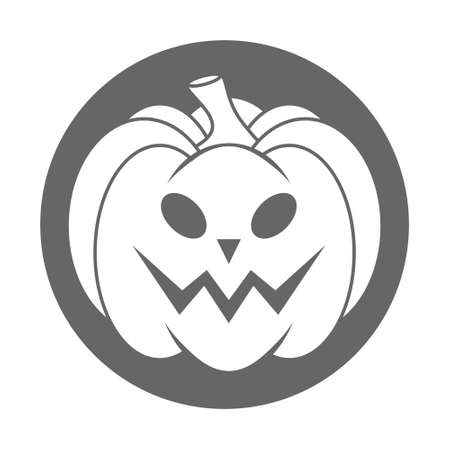 Simple Halloween scary pumpkin with funny face in flat style. Illustration cartoon pumpkin. Holiday icons concept