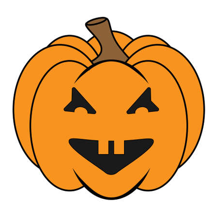 Simple Halloween scary pumpkin with funny face in flat style. Illustration cartoon pumpkin. Holiday icons concept Векторная Иллюстрация