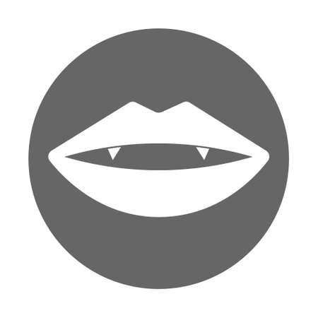 Simple illustration of sexy woman lips with vampire fangs. Cartoon Halloween stock card