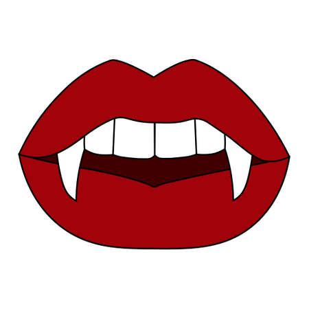 Simple illustration of woman lips with vampire fangs. Cartoon Halloween stock card