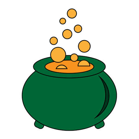 Simple illustration of witches cauldron with boiling magic potion. Decorative element for Halloween