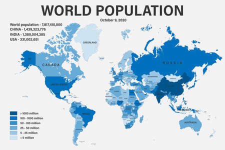World population on political map with scale. Highly detailed map with borders and countries. Each country is on a separate layer and is editable.
