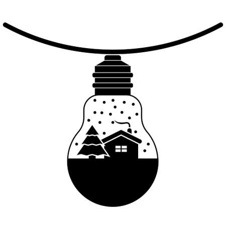 Simple illustration of Christmas light bulb toy for Christmas holiday. Flat style