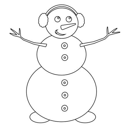 Simple illustration of funny snowman Concept for Christmas holiday. Flat style