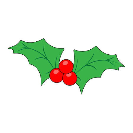 Simple illustration of Christmas holly berry icon for Christmas holiday. Flat style