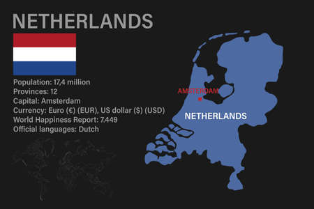 Highly detailed Netherlands map with flag, capital and small map of the world. Highly detailed map with borders, countries.