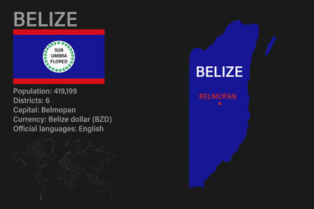 Highly detailed Belize map with flag, capital and small map of the world. Highly detailed map with borders, countries.