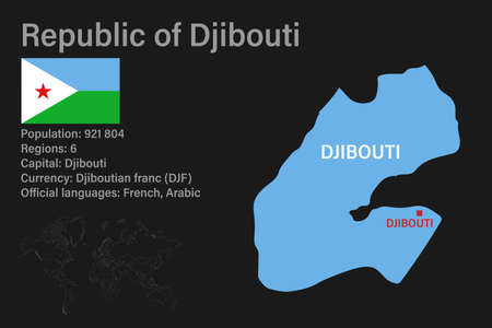 Highly detailed Djibouti map with flag, capital and small map of the world. Highly detailed map with borders, countries.