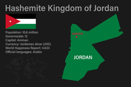 Highly detailed Jordan map with flag, capital and small map of the world. Highly detailed map with borders, countries.