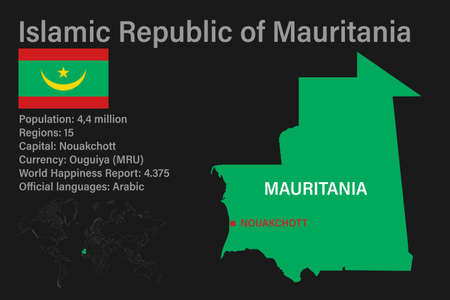 Highly detailed Mauritaniamap with flag, capital and small map of the world. Highly detailed map with borders, countries.