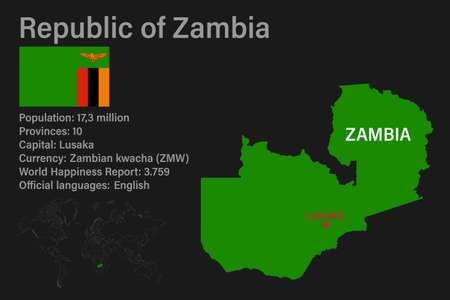 Highly detailed Zambia map with flag, capital and small map of the world. Highly detailed map with borders, countries.