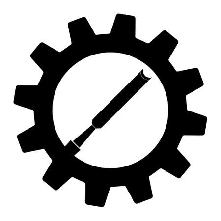 Simple illustration of chisel icon in gear for app or web. Flat style