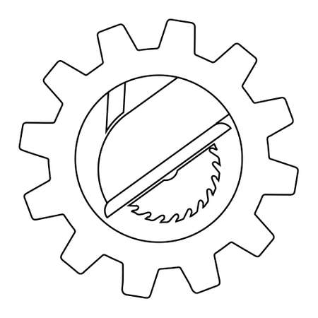 Circular saw in gear simple icon. From Working tools, Construction and Manufacturing icons. Flat style Vecteurs