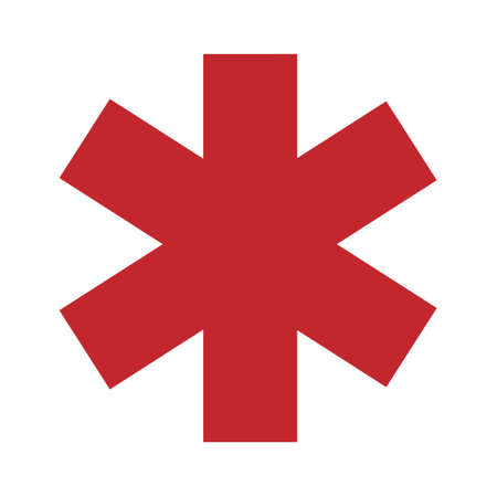 Medical sign star of life icon. Hospital ambulance star glyph style pictogram.