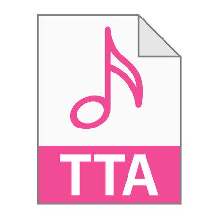 Modern flat design of TTA file icon for web. Simple style Vektorové ilustrace
